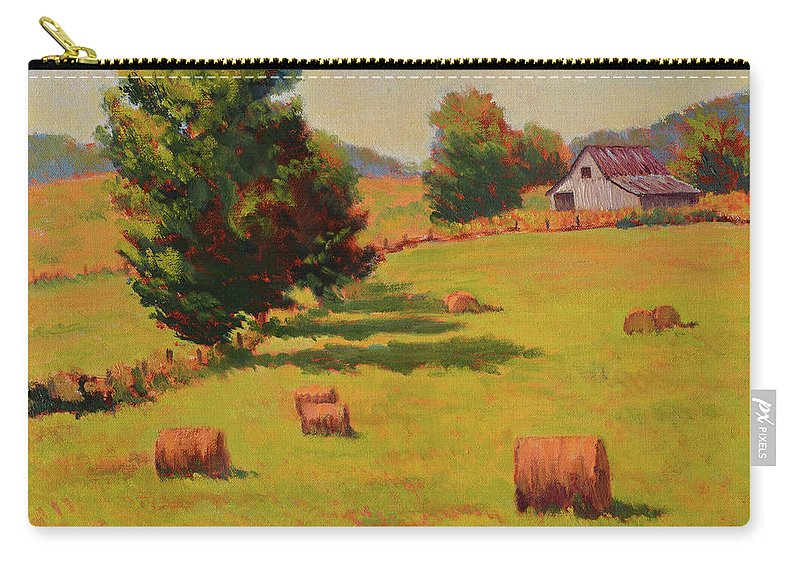 Impressionism Carry-all Pouch featuring the painting August Hay Field by Keith Burgess