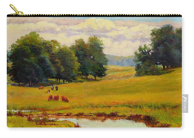 Impressionism Carry-all Pouch featuring the painting August Pastoral by Keith Burgess