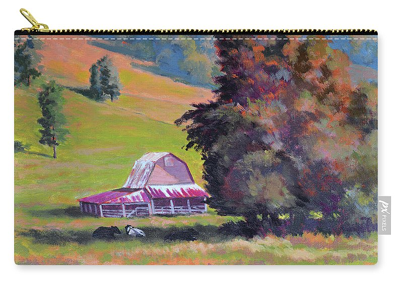 Impressionism Carry-all Pouch featuring the painting August Pastures by Keith Burgess
