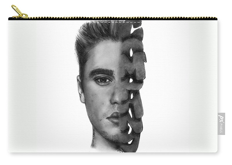 Portrait Carry-all Pouch featuring the drawing Justin Bieber Drawing By Sofia Furniel by Jul V