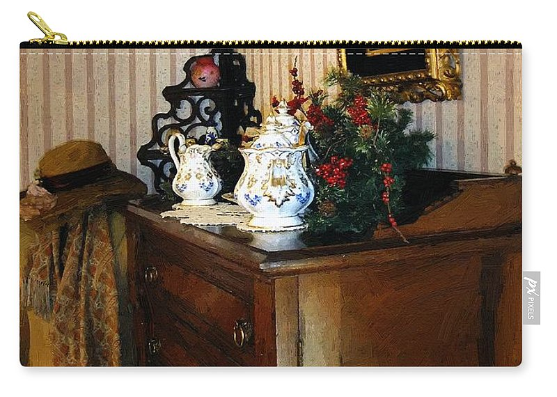 Antiques Carry-all Pouch featuring the painting Auntie's Room by RC DeWinter