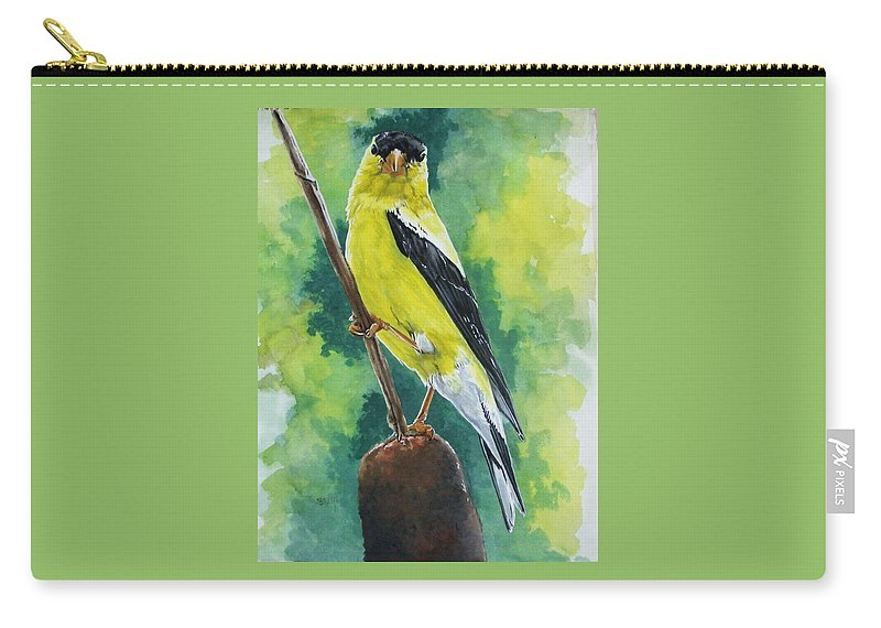 Common Bird Carry-all Pouch featuring the painting Aureate by Barbara Keith