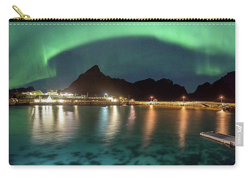 Aurora Carry-all Pouch featuring the photograph Aurora Above Turquoise Waters by Alex Conu