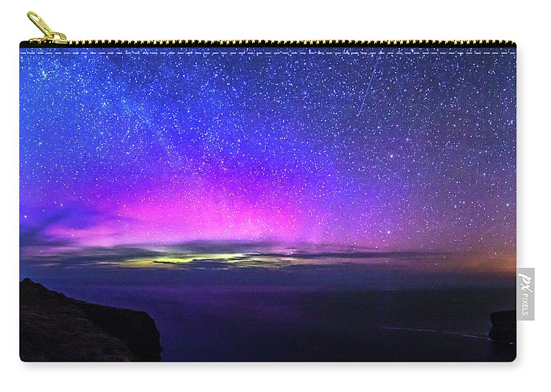 Aurora Carry-all Pouch featuring the photograph Aurora At Ceide Fields by Michael Kinsella