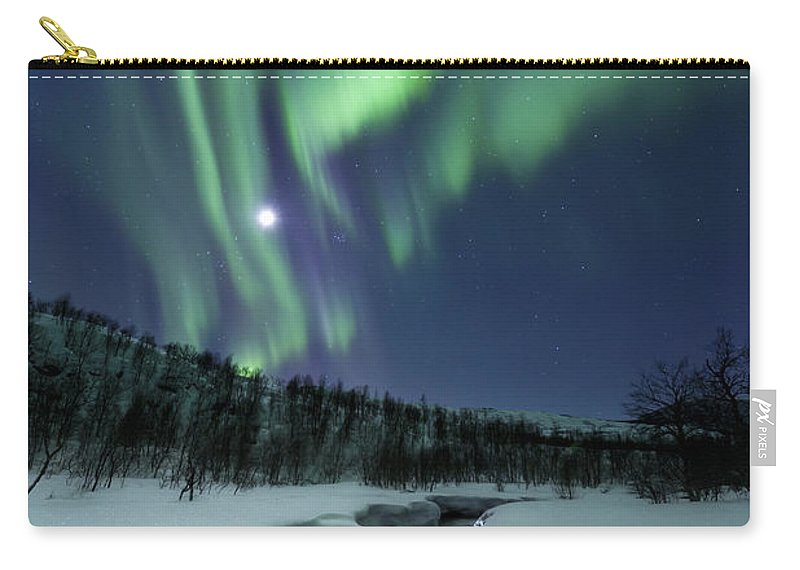 Aurora Borealis Carry-all Pouch featuring the photograph Aurora Borealis Over Blafjellelva River by Arild Heitmann