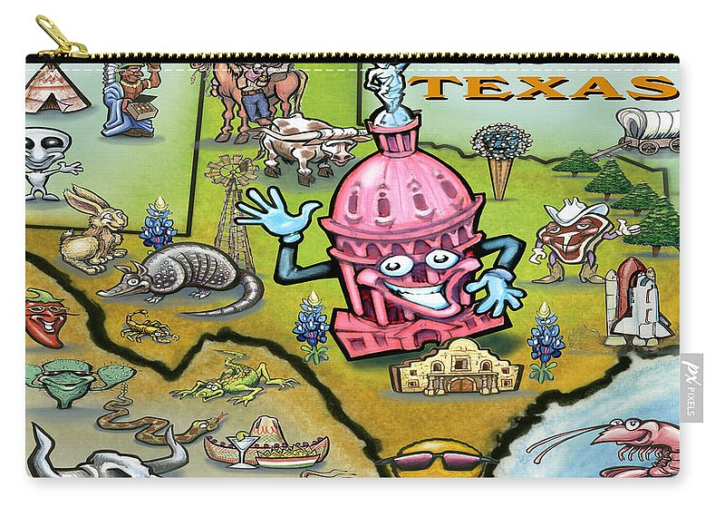 Austin Carry-all Pouch featuring the digital art Austin Texas Cartoon Map by Kevin Middleton