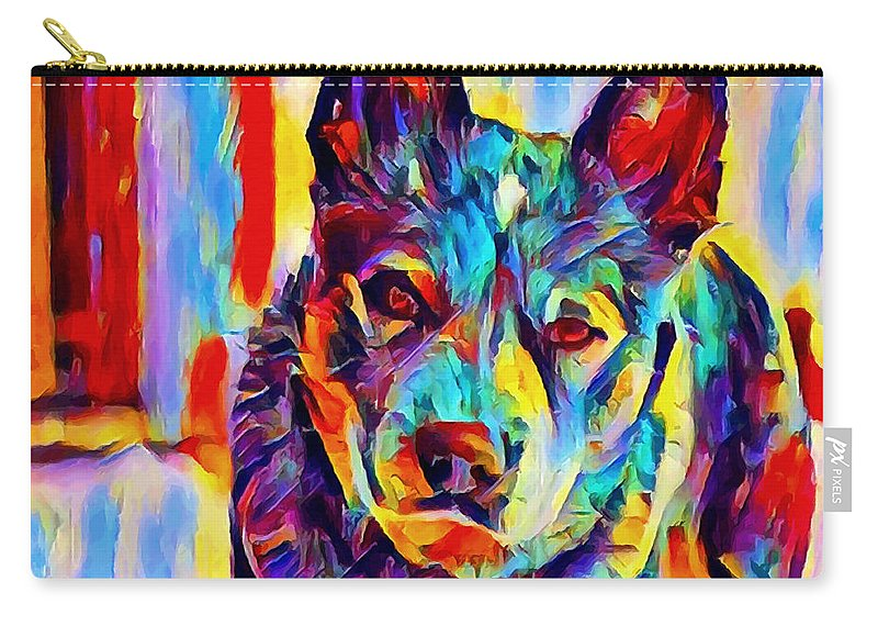 Australian Cattle Dog Carry-all Pouch featuring the painting Australian Cattle Dog by Chris Butler