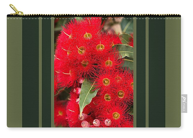 Eucalyptus Carry-all Pouch featuring the photograph Australian Red Eucalyptus Flowers With Design by Joy Watson