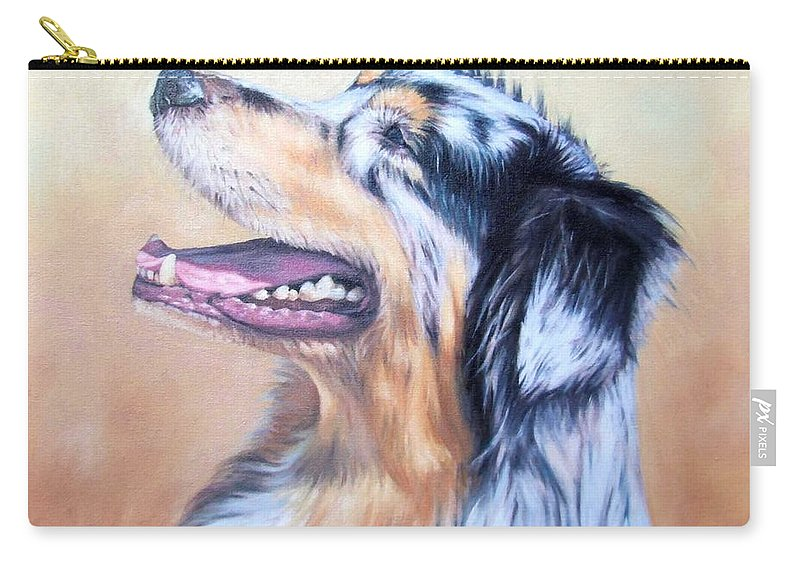 Dog Carry-all Pouch featuring the painting Australian Shepherd Dog by Nicole Zeug
