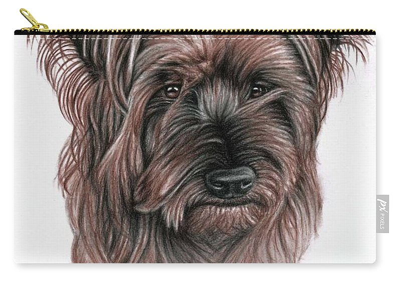 Dog Carry-all Pouch featuring the drawing Australian Terrier by Nicole Zeug