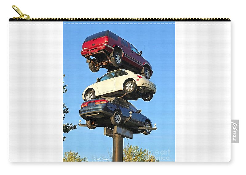 Car Carry-all Pouch featuring the photograph Auto Pile Up by Steve Gass