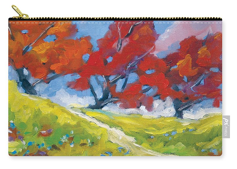 Art Carry-all Pouch featuring the painting Automn Trees by Richard T Pranke