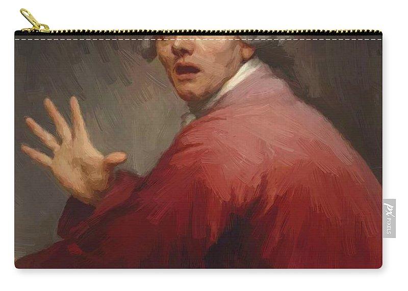 Autoportrait Carry-all Pouch featuring the painting Autoportrait En Homme Surpris Et Terroris 1791 by Ducreux Joseph