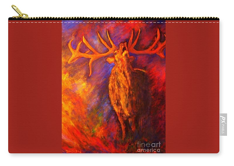 Deer Carry-all Pouch featuring the painting Autum-serenade by Dagmar Helbig
