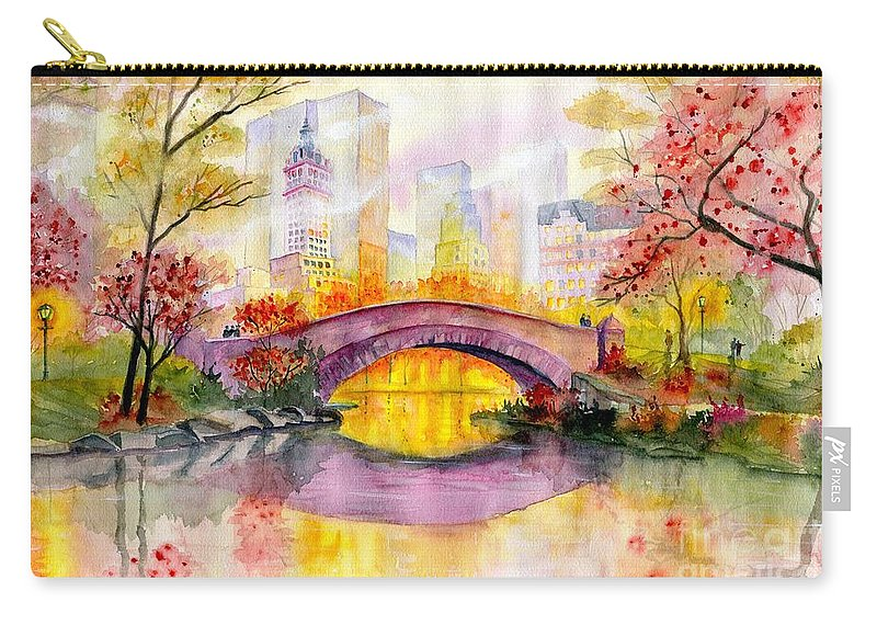 Autumn At Gapstow Bridge Central Park Carry-all Pouch featuring the painting Autumn at Gapstow Bridge Central Park by Melly Terpening