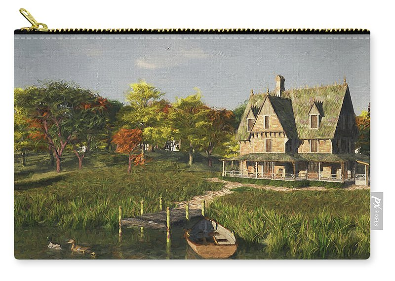 Lakeside Carry-all Pouch featuring the digital art Autumn At The Lake by Jayne Wilson