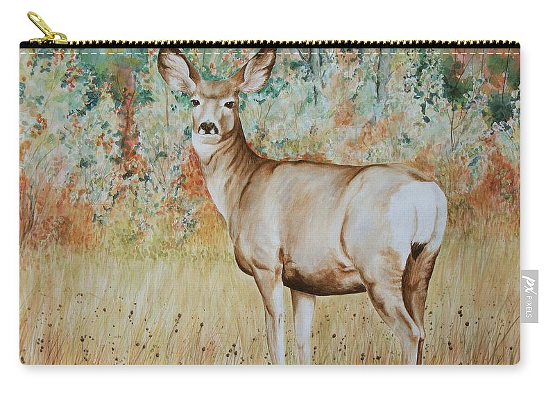 Wildlife Carry-all Pouch featuring the painting Autumn Beauty- Mule Deer Doe by Elaine Booth-Kallweit