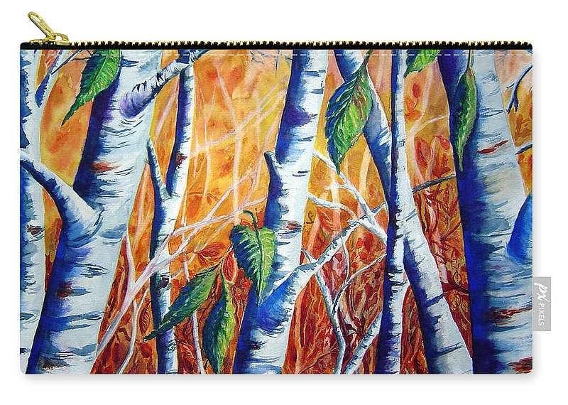 Autumn Birch Trees Carry-all Pouch featuring the painting Autumn Birch by Joanne Smoley