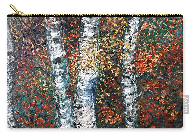 Birch Carry-all Pouch featuring the painting Autumn Birch by Nadine Rippelmeyer