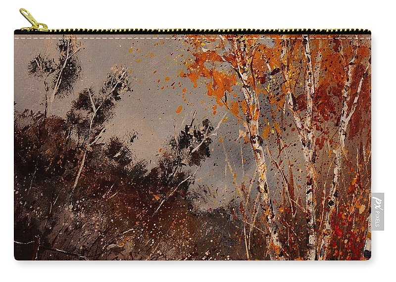 Tree Carry-all Pouch featuring the painting Autumn Birches by Pol Ledent