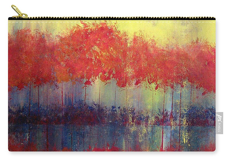 Abstract Carry-all Pouch featuring the painting Autumn Bleed by Ruth Palmer