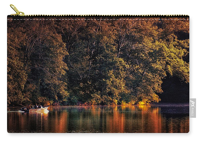 Autumn Carry-all Pouch featuring the photograph Autumn Boating At Argyle Lake by Thomas Woolworth