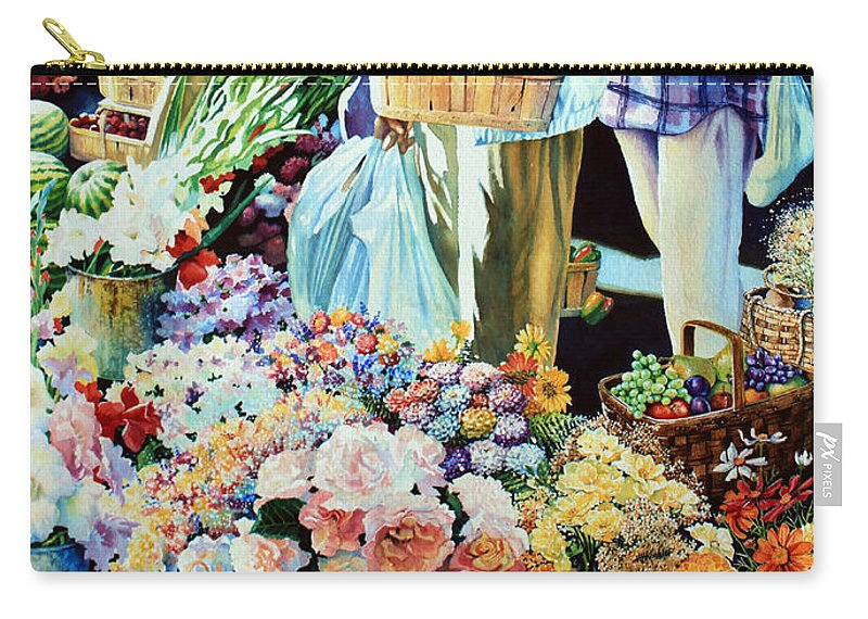 Cambridge Farmers Market Carry-all Pouch featuring the painting Autumn Bounty by Hanne Lore Koehler