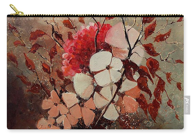 Flowers Carry-all Pouch featuring the painting Autumn Bunch by Pol Ledent