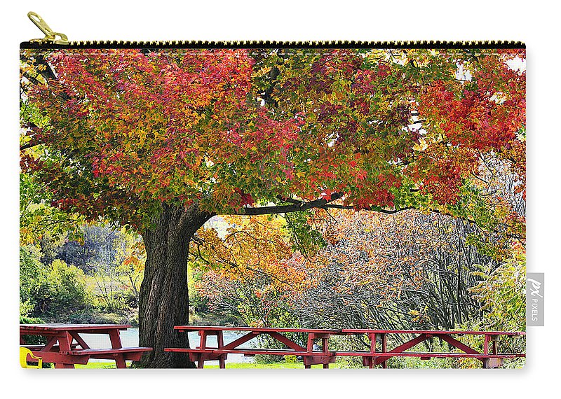 Fall Carry-all Pouch featuring the photograph Autumn By The River On 105 by Deborah Benoit