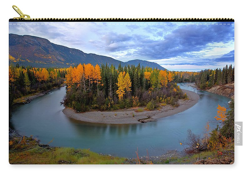 River Carry-all Pouch featuring the digital art Autumn Colors Along Tanzilla River In Northern British Columbia by Mark Duffy