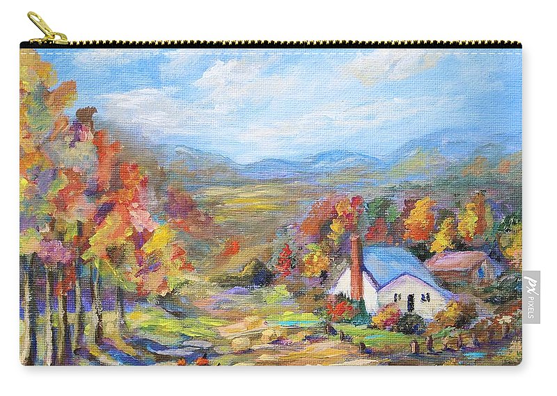 Autumn Carry-all Pouch featuring the painting Autumn Cottage by Nadia Bindr