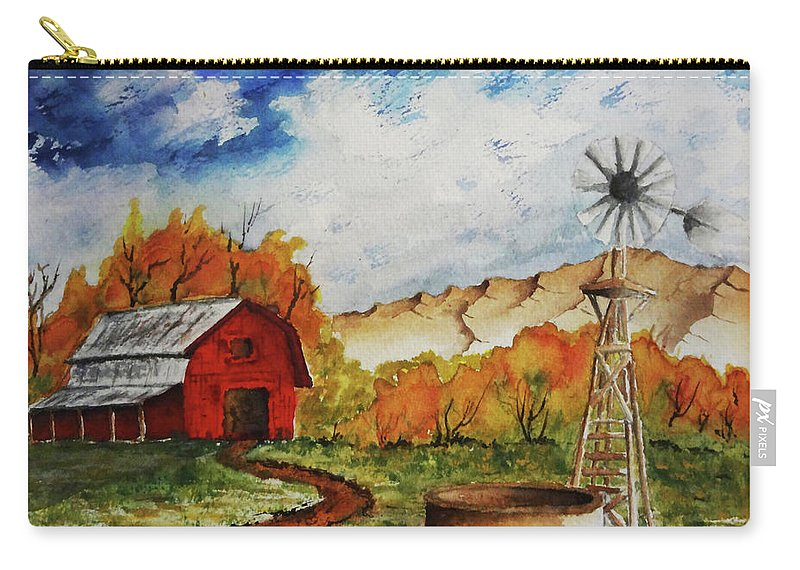 Red Barn Carry-all Pouch featuring the painting Autumn Farm by Darrell Mcgahhey