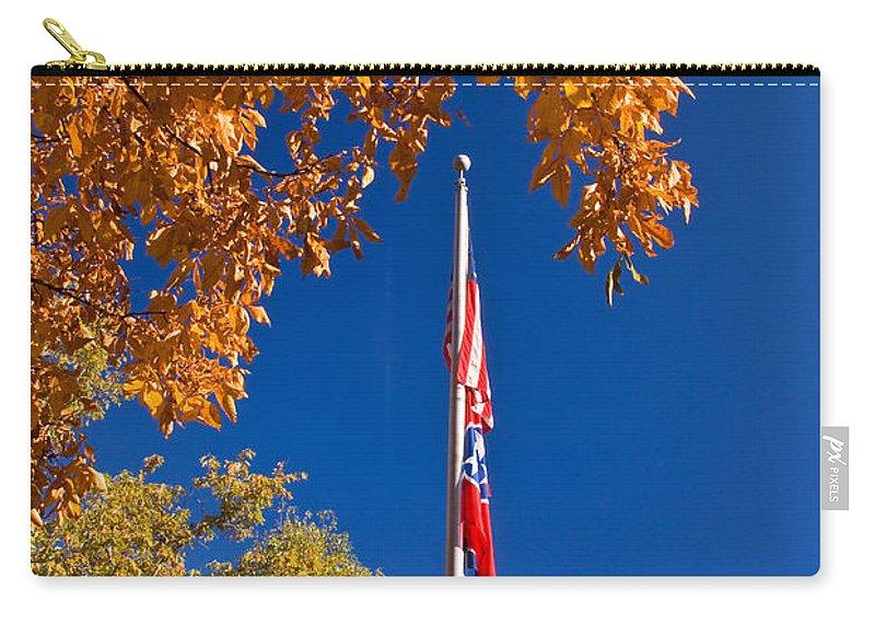 Flag Carry-all Pouch featuring the photograph Autumn Flag by Douglas Barnett