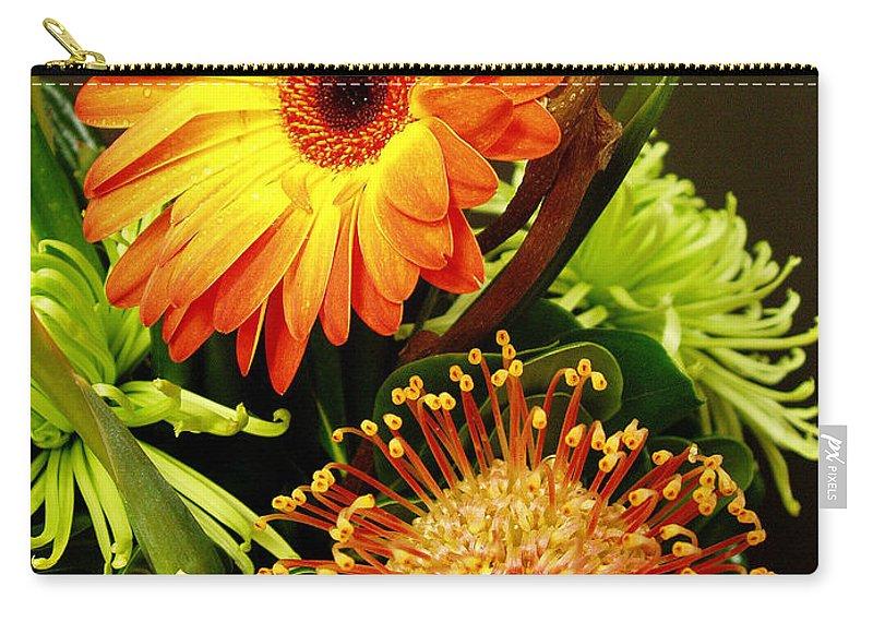 Autumn Carry-all Pouch featuring the photograph Autumn Flower Arrangement by Nancy Mueller