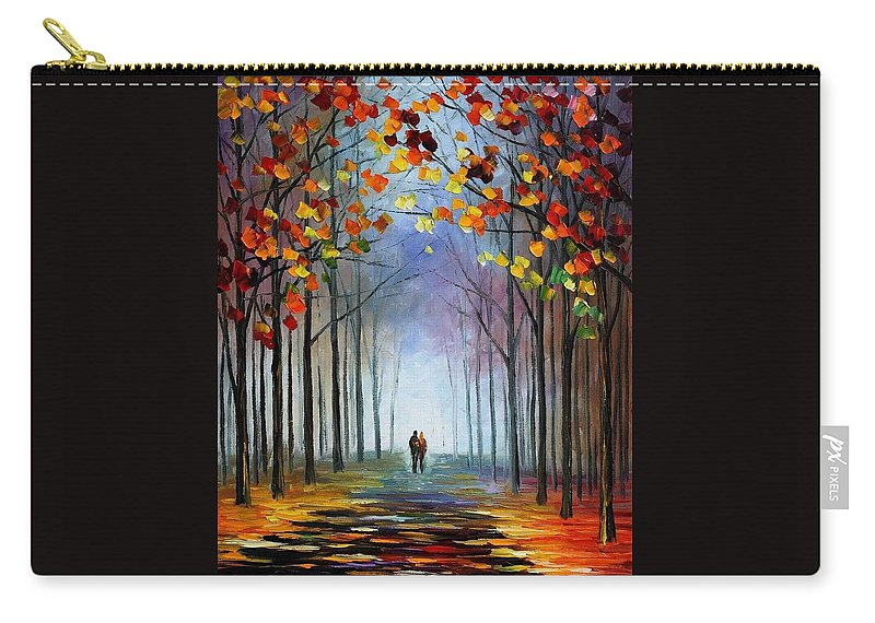Afremov Carry-all Pouch featuring the painting Autumn Fog by Leonid Afremov