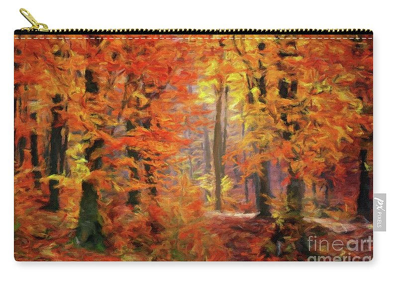Landscape Carry-all Pouch featuring the painting Autumn Glow by Sarah Kirk
