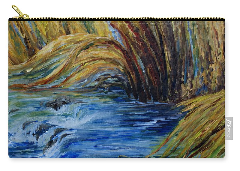 Autumn Grasses Carry-all Pouch featuring the painting Autumn Grasses by Joanne Smoley