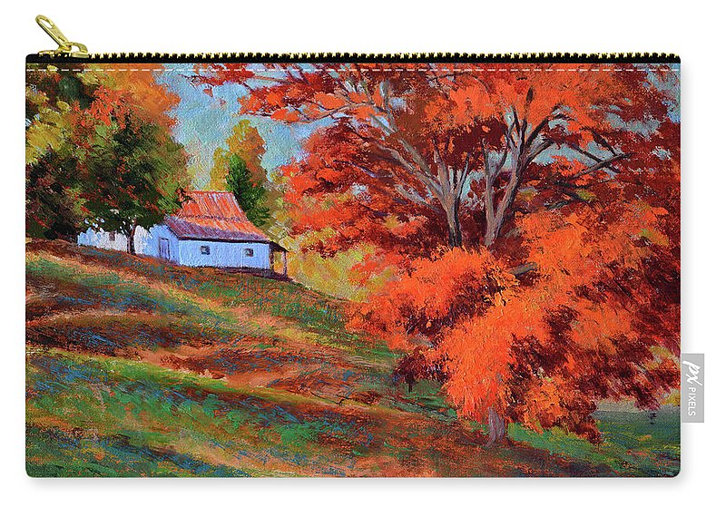 Impressionism Carry-all Pouch featuring the painting Autumn Hillside by Keith Burgess