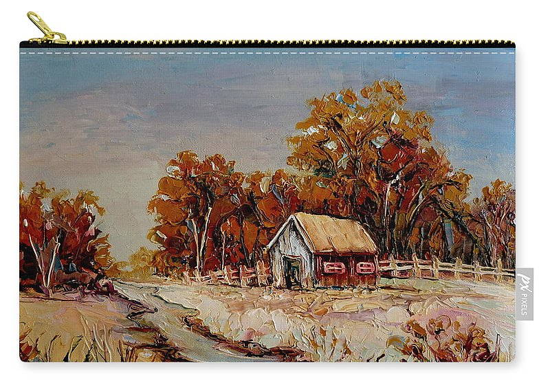 Autumn House By The Stream Carry-all Pouch featuring the painting Autumn House By The Stream by Carole Spandau