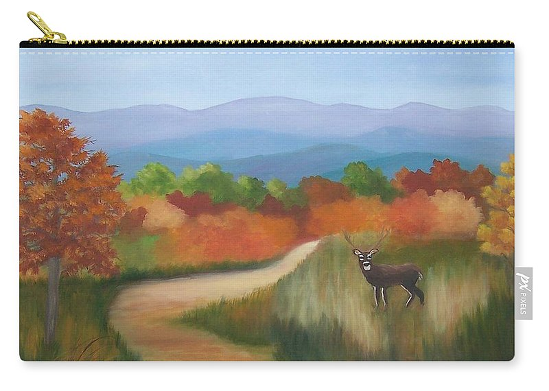 Mountains Carry-all Pouch featuring the painting Autumn In Blue Ridge Mountains Virginia by Ruth Housley