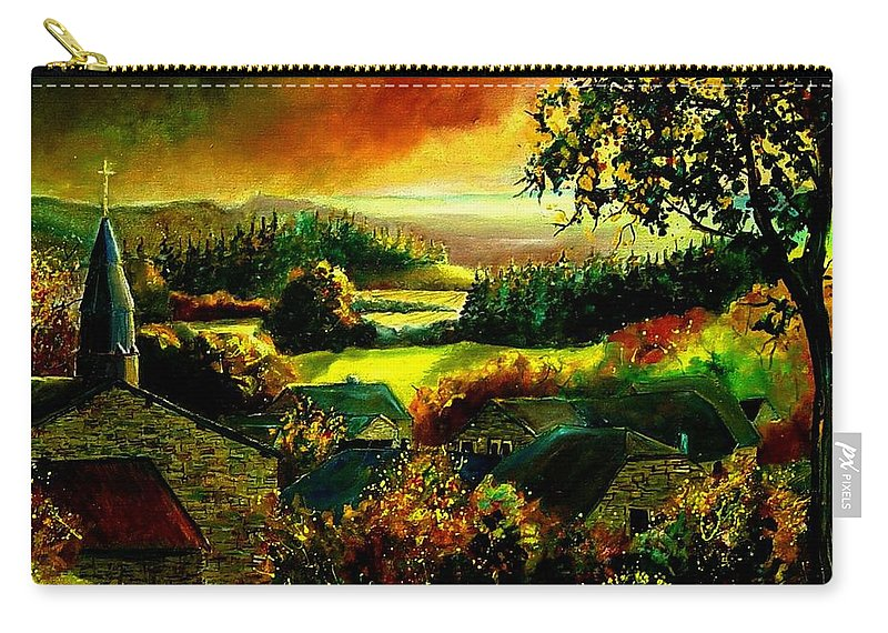 Landscape Carry-all Pouch featuring the painting Autumn In Our Village Ardennes by Pol Ledent