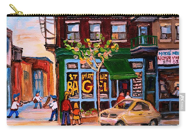 St.viateur Bagel Carry-all Pouch featuring the painting Autumn In The City by Carole Spandau