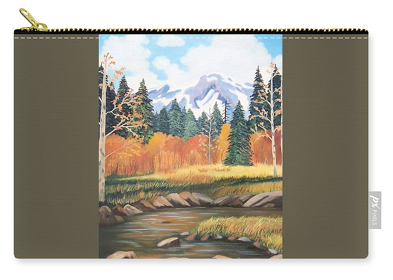 Landscape Carry-all Pouch featuring the painting Autumn In The Mountans by Ruth Housley