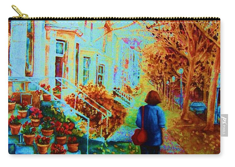 Montreal Carry-all Pouch featuring the painting Autumn In Westmount by Carole Spandau