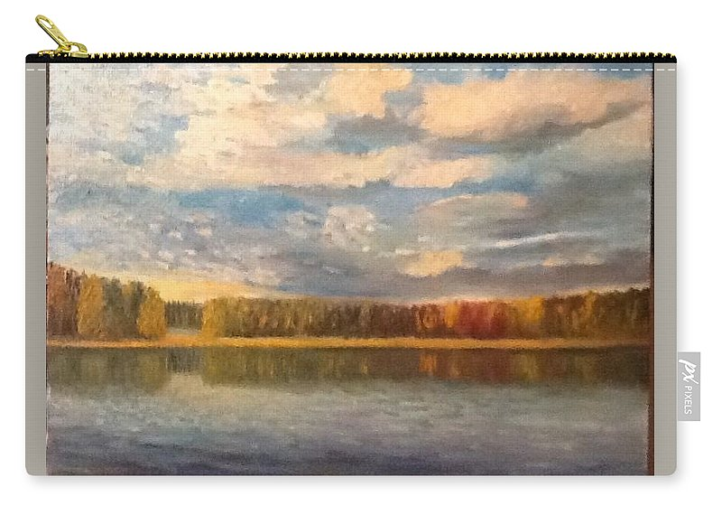 Landscape Carry-all Pouch featuring the painting Autumn. Lake. by Timofeevskaya Galina