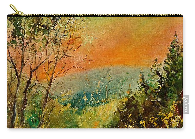 Tree Carry-all Pouch featuring the painting Autumn Landscape 5698 by Pol Ledent