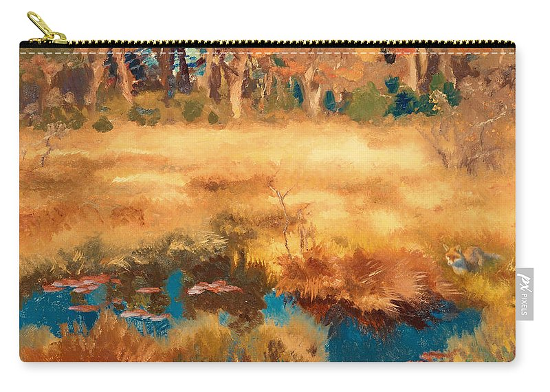 Painting Carry-all Pouch featuring the painting Autumn Landscape With Fox by Mountain Dreams