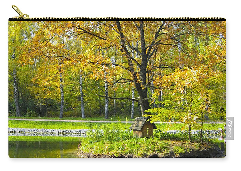 Autumn Carry-all Pouch featuring the painting Autumn Landscape With Red Tree by Irina Afonskaya