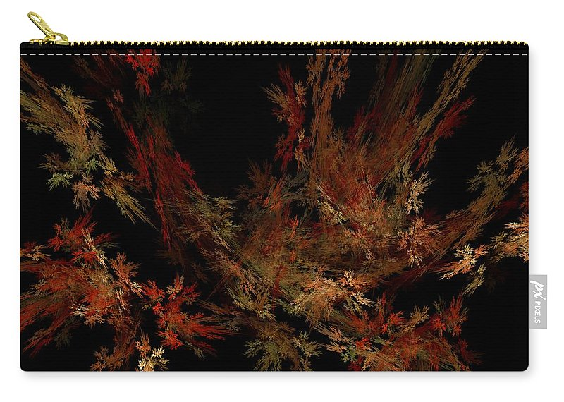 Abstract Digital Painting Carry-all Pouch featuring the digital art Autumn Leaf Dance by David Lane