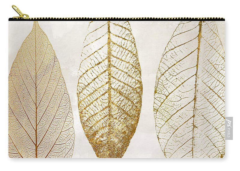 Leaf Carry-all Pouch featuring the painting Autumn Leaves IIi Fallen Gold by Mindy Sommers